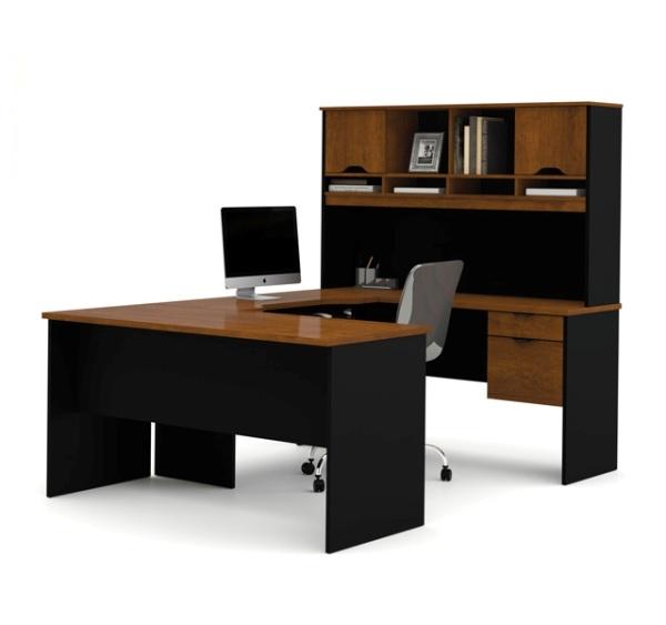 Black U Shaped Desk With Hutch Bestar Furniture