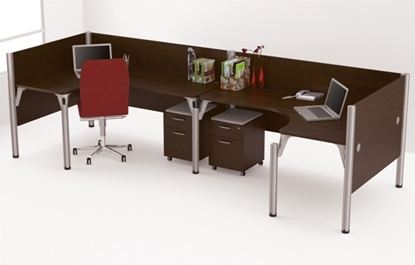 Picture of Bestar 100857A (2) L Shaped Desks with Mobile Drawers