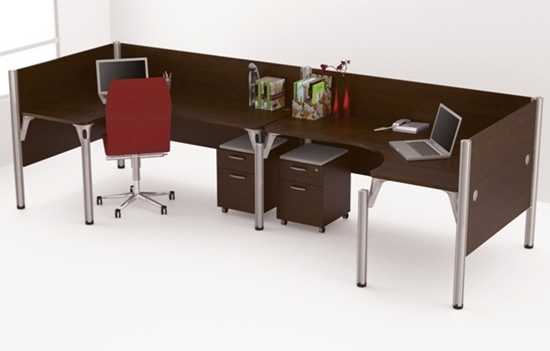 Picture Of Bestar 100857a 2 L Shaped Desks With Mobile Drawers