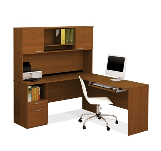 Picture Of Bestar 90425 Flame L Shaped Desk