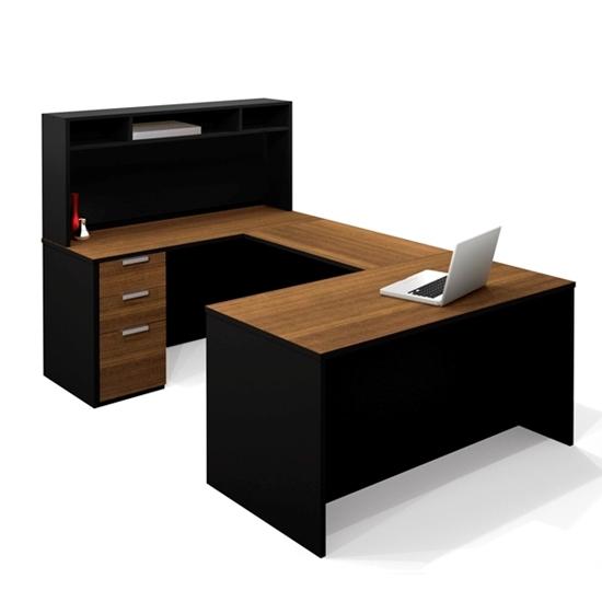 Black U Shaped Bestar Office Desk With Hutch