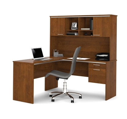 Picture Of Bestar 90427 Flare L Shaped Desk With Hutch