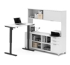 Picture of Bestar 120858 Sit Stand Desk with Hutch