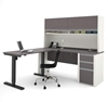 Picture of Bestar 93886 Sit Stand Desk with Hutch