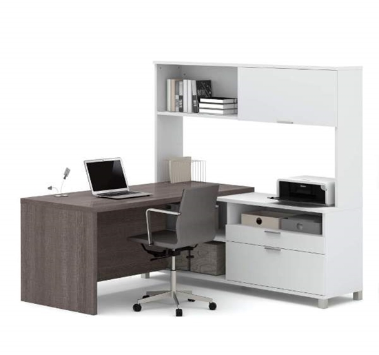 Picture of Bestar 120882 L-Shaped Desk with Hutch