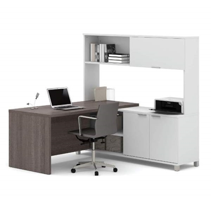 Picture of Bestar 120884 L-Shaped Desk with Hutch