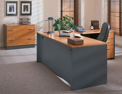 Picture of Bush COR045 L Shaped Desk and Lateral File
