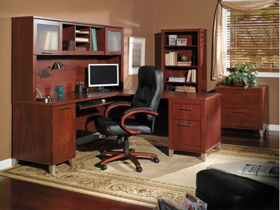 Picture of Bush WC81710-11 L Shaped Desk with Hutch