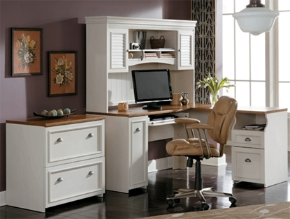 Picture of Bush WC53230-WC53231 Antique White L Shaped Desk with Drawers