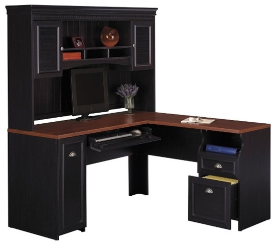 L Shaped Office Desk With Hutch Bush
