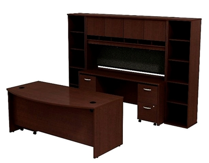 Picture of Bush SRC0010 Executive Desk with Credenza & Hutch