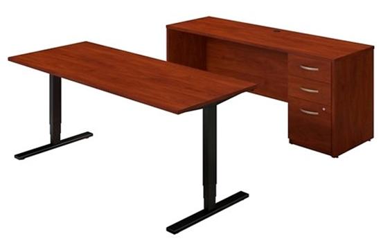 Picture of Bush SRE225 Sit Stand Desk w/ Credenza