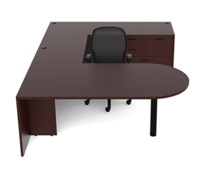 Picture of Cherryman AM-363N U Shaped Desk with Oversized Cabinet