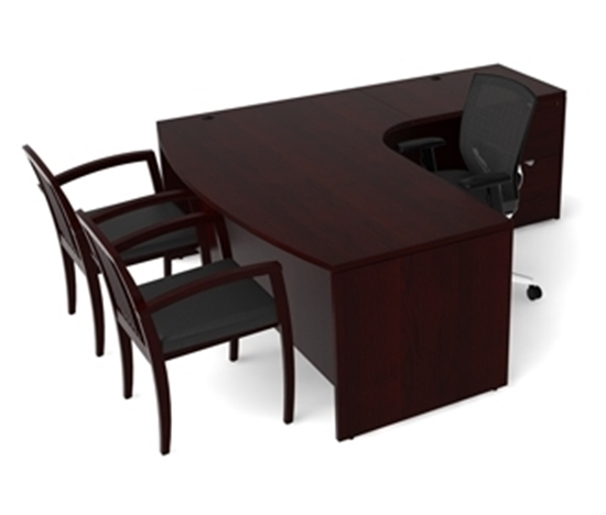 Picture of Cherryman JA-113 Wood Veneer L-Shaped Desk