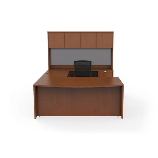 Picture Of Cherryman Ja 172n Wood Veneer U Shaped Desk With Hutch