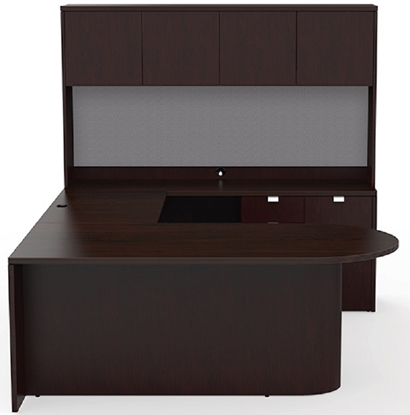 Picture of Cherryman JA-173 Wood Veneer U-Shaped Desk with Hutch