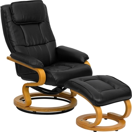 Picture of Flash Furniture BT-7615 Leather Recliner & Ottoman w Base