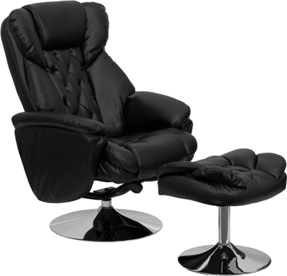 Picture of Flash Furniture BT-7807 Black Leather Recliner & Ottoman
