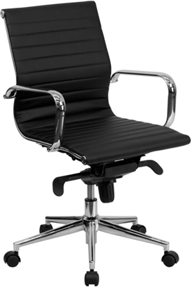 Picture of Flash Furniture BT-9826M Black Ribbed Office Chair