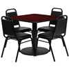 "Picture of Flash Furniture RSRB10XX 36"" Square Table w 4 Chairs"