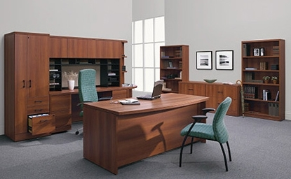 Picture of Global C3672DB4FL Bow Front Executive Office Desk