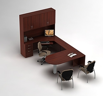Picture of Global Layout 2 U Shaped Desk with Hutch
