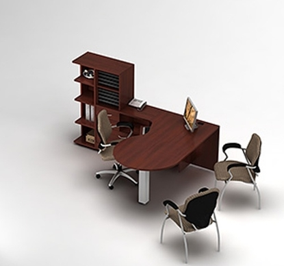 Picture of Global Layout 27 L Shaped Desk with P-Island