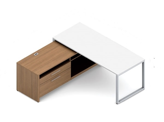 Picture Of Global PN3072DM PN2772CP Modern L Shaped Desk With Storage