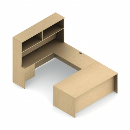Picture of Global ADP505R U Shaped Desk with Storage Hutch