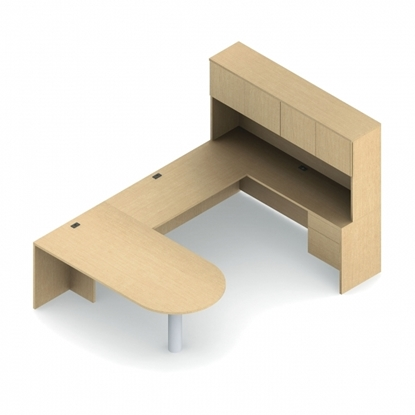 Picture of Global ADP503L U Shaped Desk with Storage Hutch