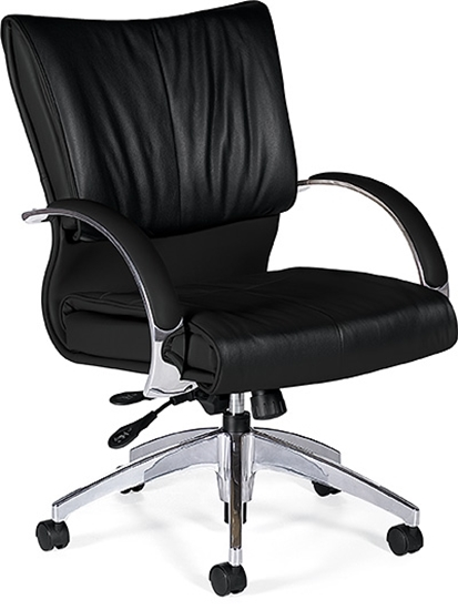 Picture of Global 4697LM-4 Black Mid Back Leather Chair