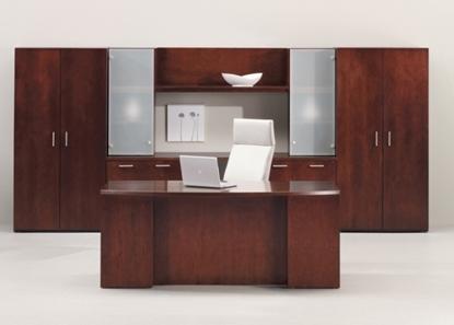 """Picture of JSI VL3672BD-VL1618FSDR 72"""" Executive Desk and Storage Unit"""