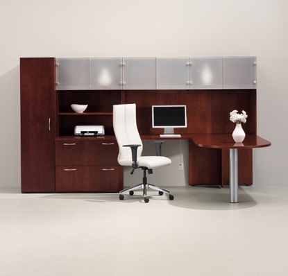 Picture of JSI VL3672B L Shaped Desk with Hutch