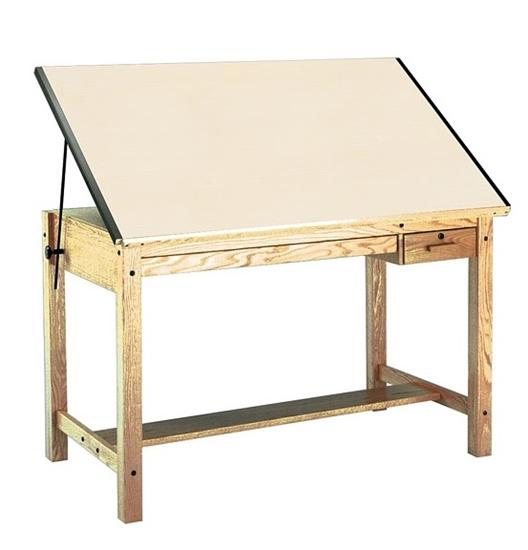 Mayline 7706b Oak Wood Drafting Table
