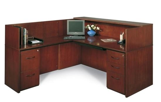 Mayline L Shaped Receptionist Desk With Wood Veneer