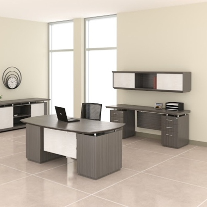 Picture of Safco STEC72B Desk and Credenza with Wall Mount Hutch