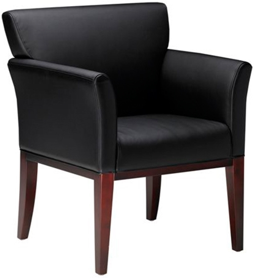 Picture Of Mayline VSC9 Wood And Leather Guest Chair
