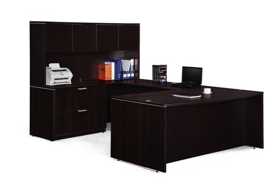Marquis ML189 U Shaped Desk, Hutch and Oversized Pedestal