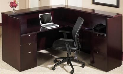 Picture of Office Star KENTYP19 L Shaped Wood Veneer Reception Desk