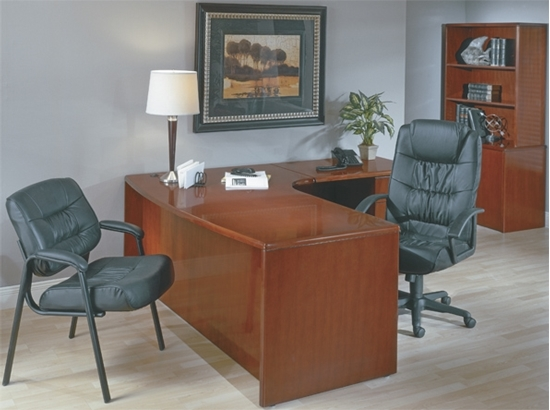 Picture of Office Star SONTYP10R L Shaped Desk with Bow Front and Wood Veneer