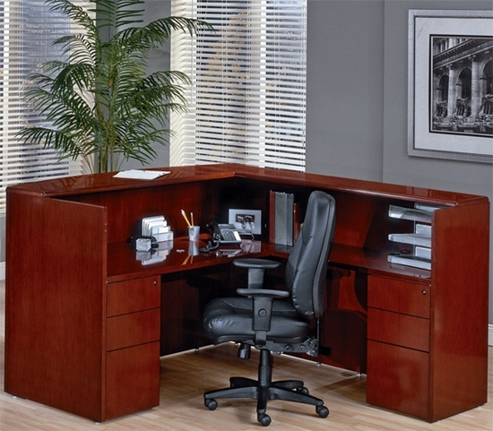 Picture Of Office Star Sontyp19 L Shaped Reception Desk With Wood Veneer