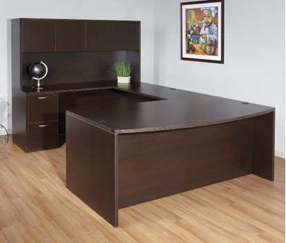 Picture of Office Star NAPTYP12 Bow Front U Shaped Desk with Hutch