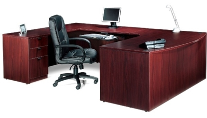 Picture Of Offices To Go SL7148BCL Executive U Shaped Desk With Drawers