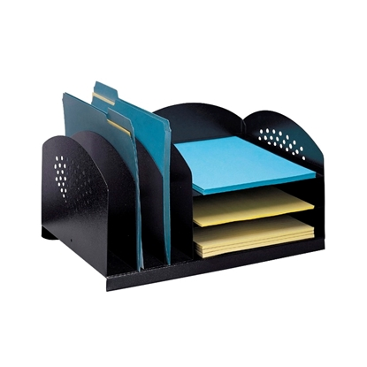 Picture of Safco 3167BL Combination Desk Rack with 3 Upright and 3 Horizontal Trays