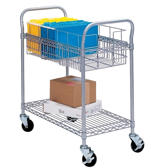 "Picture of Safco 5235GR 24""W Wire Mail Cart"