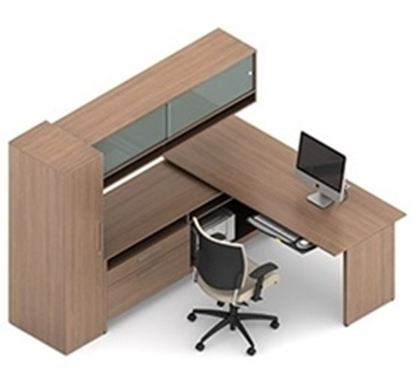 Picture of Global A1J L Shaped Desk with Cabinets
