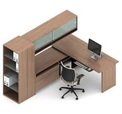 Picture of Global A10 L Shaped Desk with Cabinet and Bookshelf