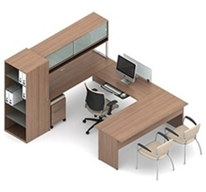 Picture of Global B4R U Shaped Desk with Hutch