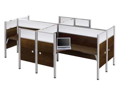 Picture of Bestar 100859D (4) L Shaped Desks with Mini Hutch