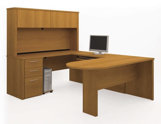 Picture Of Bestar 60856 U Shaped Desk With Hutch